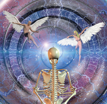 Skeleton in lotus position sits before endless spaces. Spiral of time and figures of man and woman with angel wings