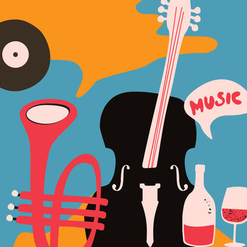 Music and wine promotional poster with violoncello and trumpet flat vector illustration. Colorful music background, music show, live concert events, party flyer design template
