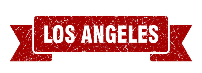 Los Angeles ribbon. Red Los Angeles grunge band sign Fototapete