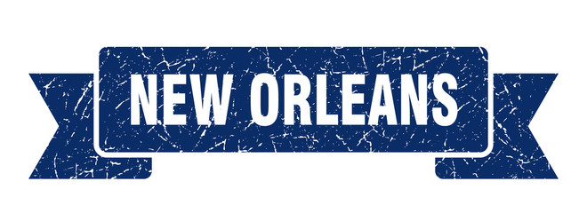 New Orleans ribbon. Blue New Orleans grunge band sign