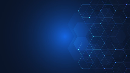 Fotobehang - Hexagons pattern. Geometric abstract background with simple hexagonal elements. Medical, technology or science design.