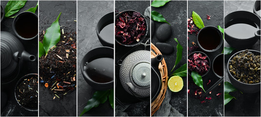 Foto op Textielframe Thee Photo banner. Photo collage, tea ceremony, tea in teapot with cups. On a black stone background.