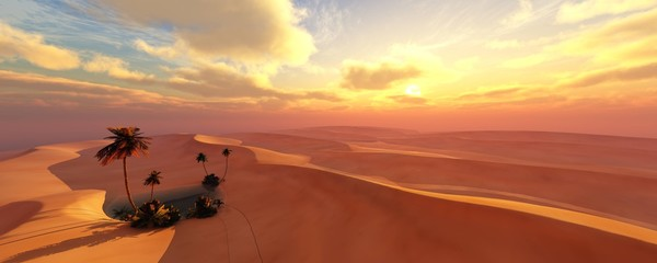 Türaufkleber Koralle Oasis at sunset in a sandy desert, a panorama of the desert with palm trees, 3d rendering