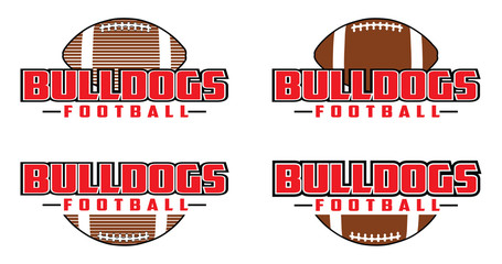 Bulldogs Football Design is a team design template that includes text and a football in a graphic style. Includes four design versions. Great for advertising and promotion for teams or schools.