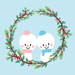 christmas winter snowman wreath illustration