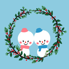 christmas winter snowman wreath vector illustration