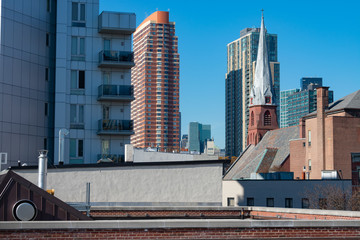 Long Island City Queens New York Rooftop and Skyline scene with a Church Steeple