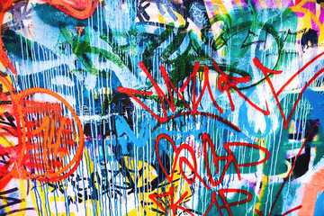 Closeup of damaged colorful urban wall texture