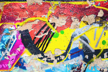 Closeup of damaged abstract colorful wall texture