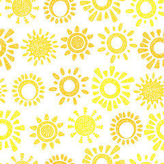 Lamas personalizadas con tu foto Yellow Sun Vector Seamless pattern. Hand drawn doodle Different Suns. Background for kids.