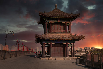 Xian city wall. Fototapete
