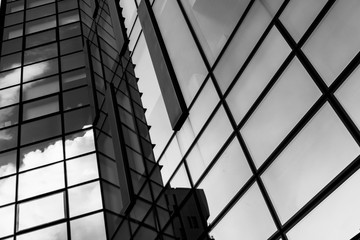 Corporate office building in Milan - detail in black and white tones.