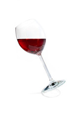Wineglass with red wine isolated on white background