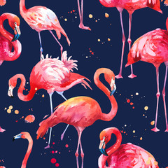 Watercolor seamless pattern on dark blue background. Illustration with pink flamingo. Tropical bird. Paradise.