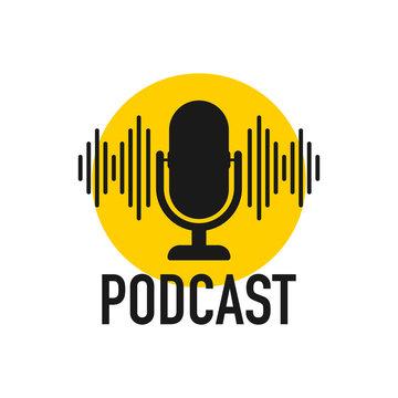 Podcast. Badge, icon, stamp, logo. Vector stock illustration.