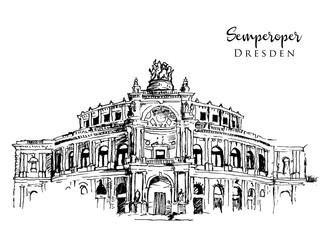 Drawing sketch illustration of Semperoper Dresden Fototapete