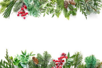 Wall Mural - Flat lay composition with winter fir branches, cones, holly isolated on white background