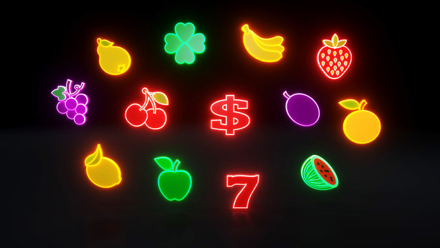 Fruit Icons With Neon Lights - 3D Illustration