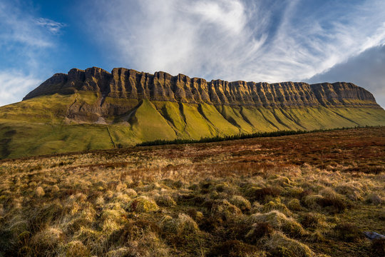 Benbulben view with trails and blue sky