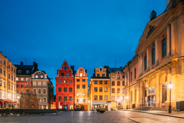 Stockholm, Sweden. Famous Old Colorful Houses, Swedish Academy and Nobel Museum In Old Square Stortorget In Gamla Stan. Famous Landmarks And Popular Place.