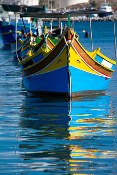 Traditional colorful Izzu boat of Malta