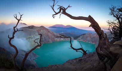 scenic panorama view of volcano mount iljen lake in java indonesia