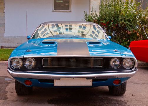 American clasical muscle car. Front view.