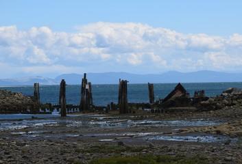 coastal landscape at the shipwreck site in Royston, Vancouver Island, BC Canada