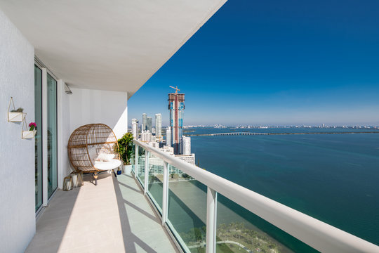 Penthouse balcony with amazing aerial view of Bay