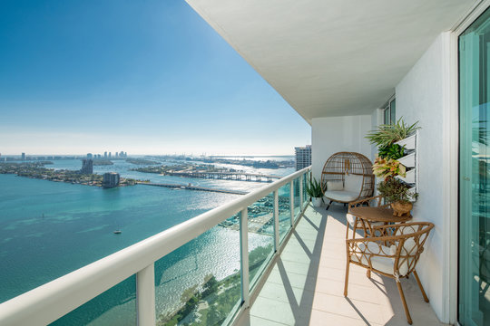 Amazing balcony apartment view of Port Miami FL USA