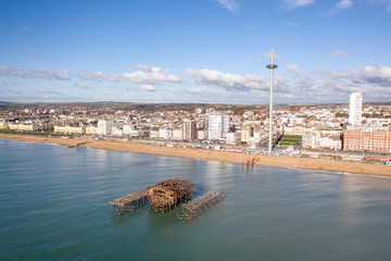 Charred Remains of Brighton's West Pier Aerial View