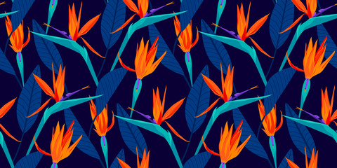 Bird of paradise tropical floral seamless pattern with trends fashion colors. Pantone color of the year 2020, lush lava, aqua menthe and phantom blue
