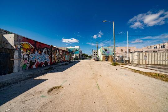 Industrial district Miami Wynwood art graffiti walls