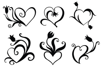 Printed kitchen splashbacks Butterflies in Grunge Vector illustration of Decorative hearts set for valentines day