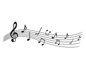 Music notes wave, group musical notes background – for stock vector icon