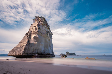 The big rock at the beach cathedral cove in Coromandel, New Zealand - longexposure photography