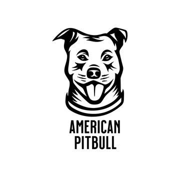 American pitbull head drawing. Vector illustration.