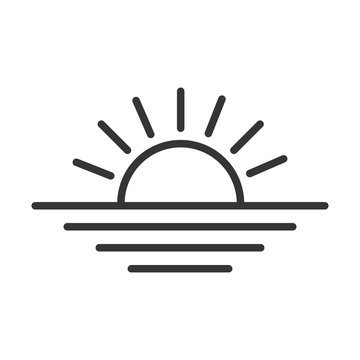 Sunset linear icon. Rising sun icon.