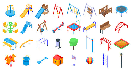 Kid playground icons set. Isometric set of kid playground vector icons for web design isolated on white background