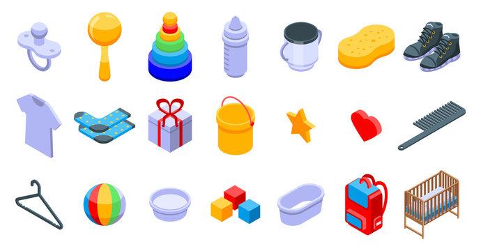 Baby items icons set. Isometric set of baby items vector icons for web design isolated on white background