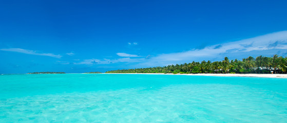 Foto auf Gartenposter Turkis tropical Maldives island with white sandy beach and sea