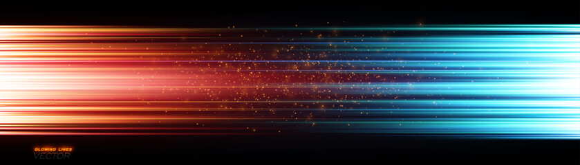 Power energy. Futuristic Flash. Magic sparks. Neon lines. Glow effect. Beautiful light. Glint cosmic rays. Mystical shine streaks. Empty place. Abstract background. Vector EPS10 Wall mural