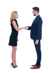 Young businesspeople greeting handshake isolated on white