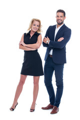 Successful young businesspeople posing, isolated on white