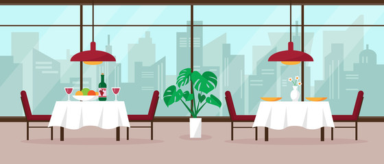 Foto op Canvas Restaurant Modern restaurant interior vector illustration
