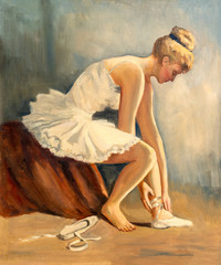 Vintage oil painting of young ballerina siting down getting ready for practice.