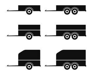 Car trailer icon set. Vector drawing. Black silhouette. Isolated object on a white background. Isolate.