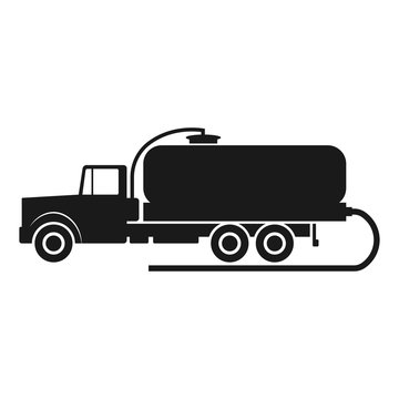 Vacuum truck icon. Black silhouette. Side view. Vector drawing. Isolated object on a white background. Isolate.