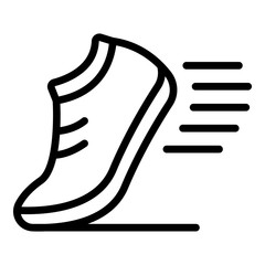 Running shoe icon. Outline running shoe vector icon for web design isolated on white background