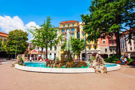 Piazza Manzoni square fountain, Lugano